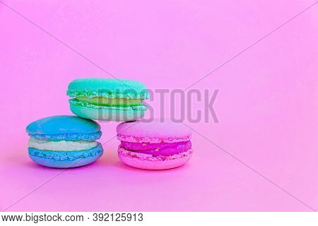 Sweet Almond Colorful Unicorn Blue Green Pink Macaron Or Macaroon Dessert Cake Isolated On Trendy Pi