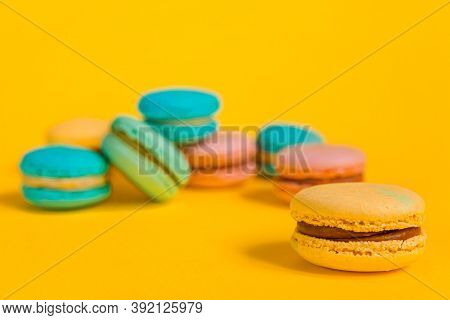Sweet Almond Colorful Unicorn Pink Blue Yellow Green Macaron Or Macaroon Dessert Cake Isolated On Tr