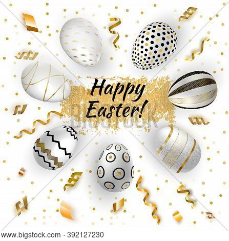 White Gold Easter Eggs And Gold Serpentine On White Background. Vector Realistic Illustration. Serpa