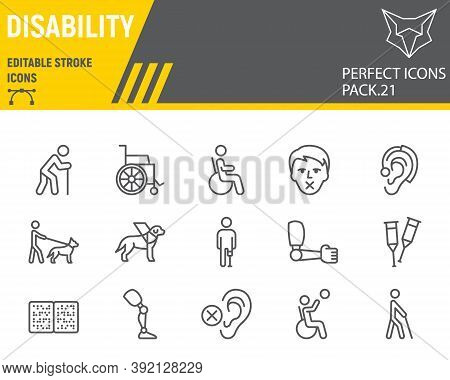 Disability Line Icon Set, Disabled People Collection, Vector Sketches, Logo Illustrations, Disabilit