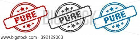 Pure Stamp. Pure Round Isolated Sign. Pure Label Set