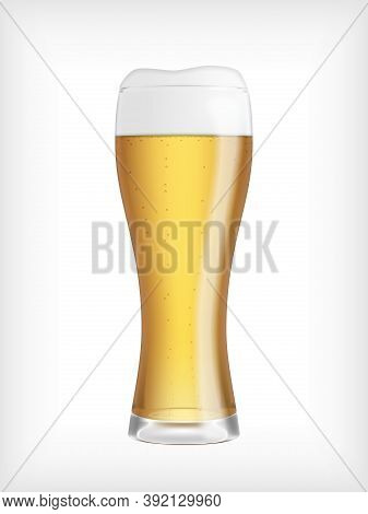 Lager Beer Glass Isolated On White Abckground