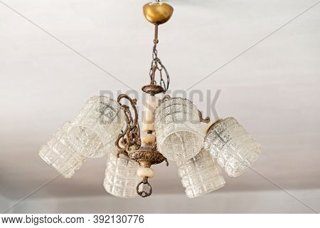 Retro Style Crystal Glass Cups Chandelier In Old Home