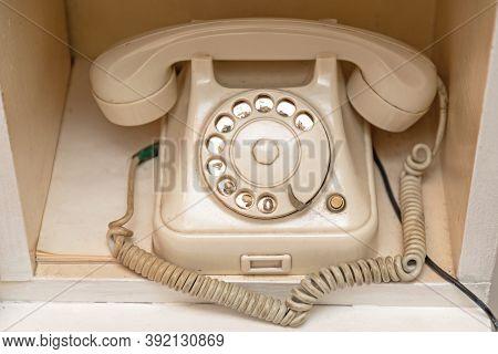 Very Old White Rotary Bakelite Phone Landline