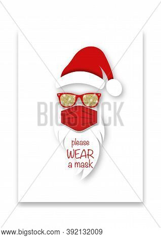 Santa Claus Head Label Wears Surgical Mask Concept, Red Hat And White Beard With Sunglasses. Paper C
