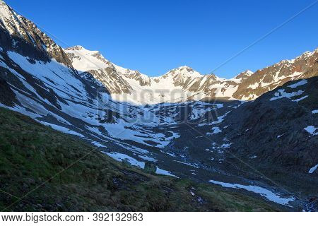 Mountain Snow Panorama With Glacier Taschachferner And Blue Sky In Tyrol Alps, Austria