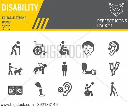 Disability Glyph Icon Set, Disabled People Collection, Vector Sketches, Logo Illustrations, Disabili