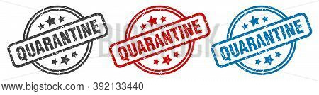 Quarantine Stamp. Quarantine Round Isolated Sign. Quarantine Label Set