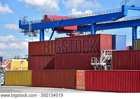International Container Terminal. Cargo Sea Containers In Port For Shipping. Import - Export Goods F