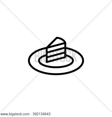 Cake Slice Vector Icon. Outlined Slice Of A Cake On A Plate Isolated On White Background. Minimalist
