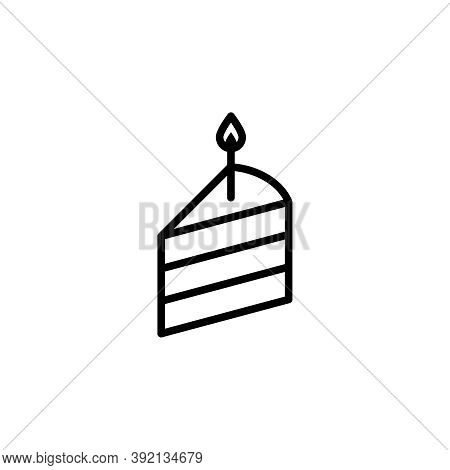 Birthday Cake Slice Vector Icon. Outlined Slice Of A Cake With A Candle Isolated On White Background