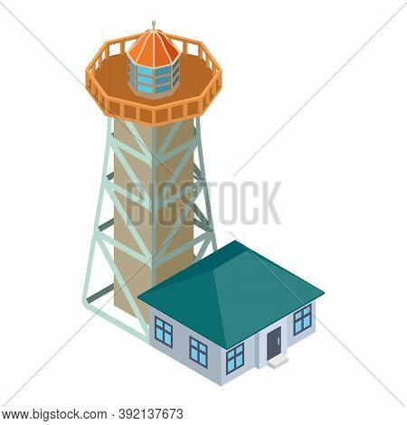 Searchlight Tower Icon. Isometric Illustration Of Searchlight Tower Vector Icon For Web