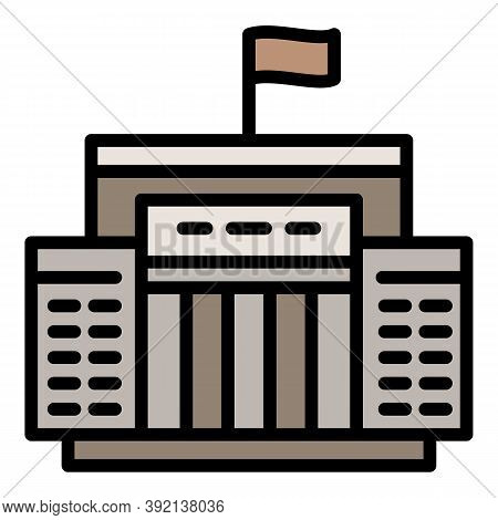 Courthouse Justice Icon. Outline Courthouse Justice Vector Icon For Web Design Isolated On White Bac