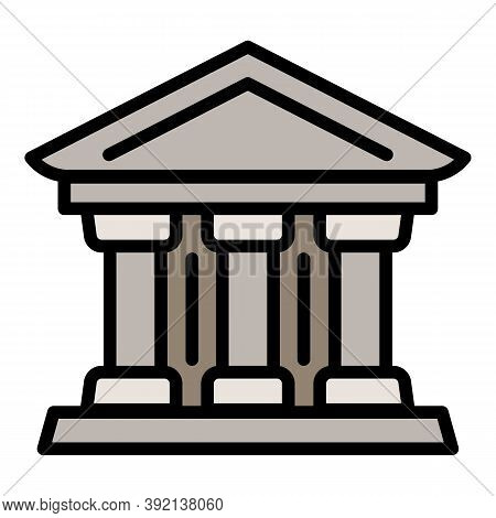 Courthouse Column Icon. Outline Courthouse Column Vector Icon For Web Design Isolated On White Backg