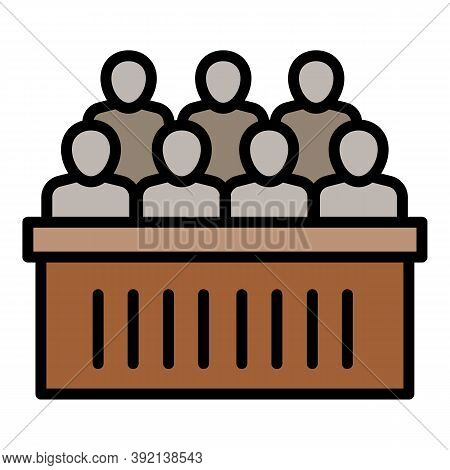 Courthouse Jury Bench Icon. Outline Courthouse Jury Bench Vector Icon For Web Design Isolated On Whi