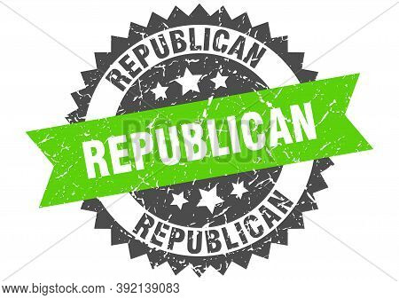 Republican Grunge Stamp With Green Band. Republican