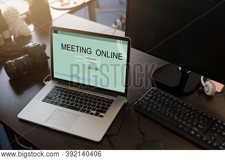 Online Meeting On Laptop Screen, Team Work Using A Laptop Computer With Webinar E-business Browsing