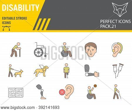 Disability Color Line Icon Set, Disabled People Collection, Vector Sketches, Logo Illustrations, Dis