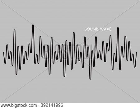 Black Sound Wave Logo, Digital Music Equalizer, Pulse Audio Symbol On Gray Background. Vector Isolat