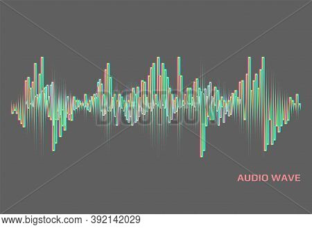 Modern Neon Music Wave Logo. Digital Audio Concept. Stylized Wave Lines Elements. Vector Colorful Pu