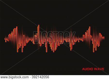 Red Pulse Music Player Logo On Black Background. Vector Sound Wave Illustration. Design Equalizer El