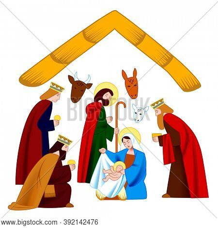 Characters scene of the Nativity of Christ and Adoration of the Magi isolated on white background