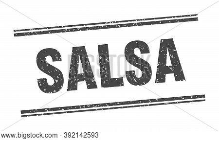 Salsa Stamp. Salsa Label. Square Grunge Sign
