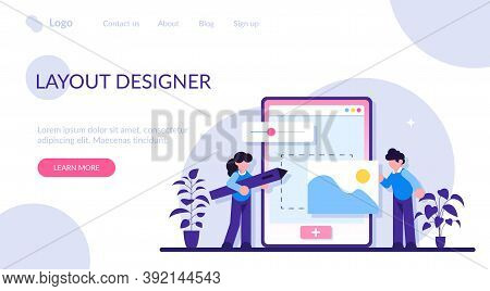 Web Design Development Concept. Web Design, User Interface Ui And User Experience Ux Content Organiz