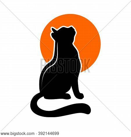 Set Of Vector Silhouettes Of Gray Cats In Flat Style. The Cat Curled Up And Sleeps, The Cat Stretche