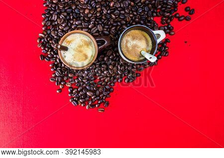 Cup Of Coffee, Roasted Coffee Beans On Red Background, Top View, Copy Space For Text, Coffee Concept