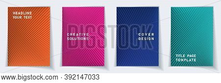 Cover Page 2d Layout Vector Design Set. Halftone Lines Grid Background Patterns. Catalog Templates.