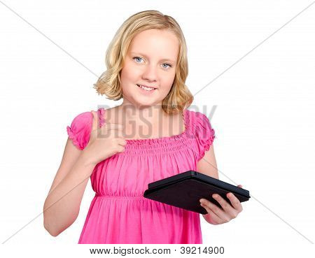 Happy Girl Holding Tablet Computer And Showing Thumbs Up. Isolated On White Background
