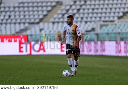 Torino, 28th October 2020. Marco Calderoni Of Us Lecce In Action   During The Coppa Italia Match  Be