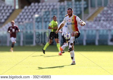 Torino, 28th October 2020. Fabio Lucioni Of Us Lecce In Action   During The Coppa Italia Match  Betw