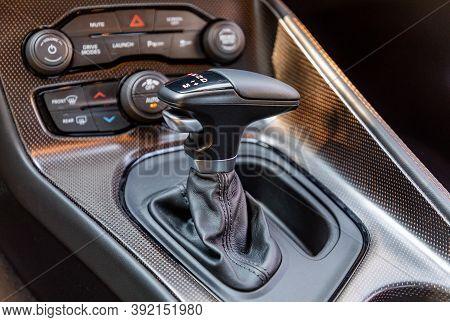 Gear Shift In Interior Of Luxurious Sportscar
