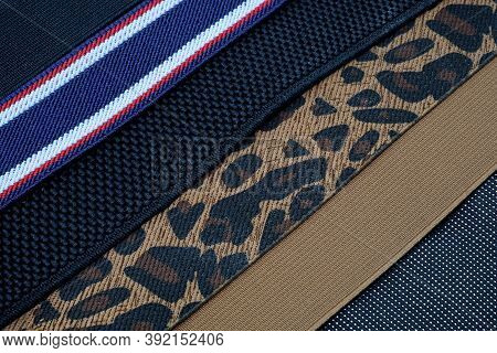 A Set Of Wide Elastic Bands For A Belt And Suspenders. Decorative Elastic Bands For Sewing Dresses,