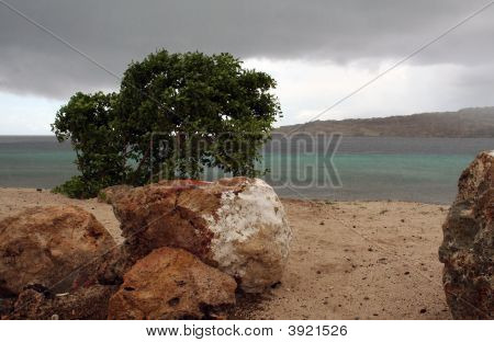 Rock Formation On Rainy Day