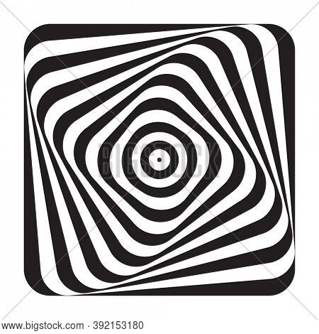 Abstract op art design element. Illusion of swirl movement. Lines pattern.