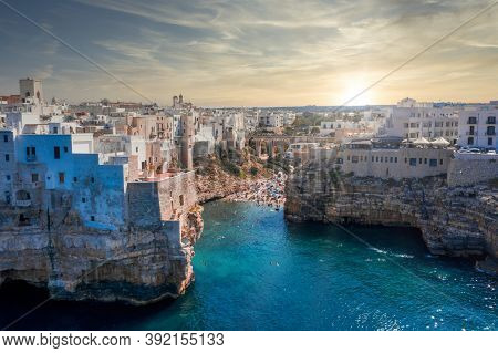 Aerial Panoramic Sight In Polignano A Mare, Bari Province, Apulia (puglia), Southern Italy.