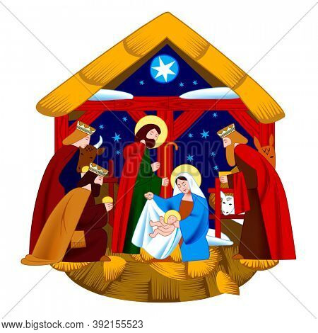 Scene of the Nativity of Christ and Adoration of the Magi isolated on white background