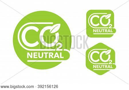 Co2 Neutral Green Stamps Set (net Zero Carbon Footprint) - Carbon Emissions Free (no Air Atmosphere