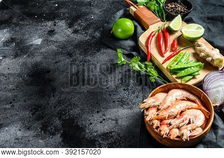 Recipe And Ingredients Tom Kha Gai. Thai Galangal Chicken Soup In Coconut Milk. Black Background. To