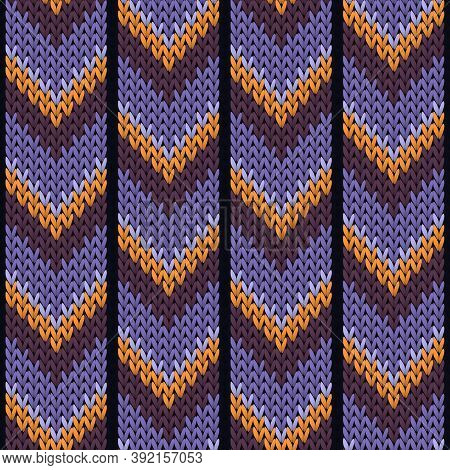 Clothing Downward Arrow Lines Knitted Texture Geometric Seamless Pattern. Pullover Knit Effect Ornam