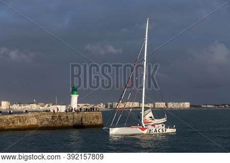 Les Sables D'olonne, France - October 29, 2020: Isabelle Joschke Boat (macsf) In The Channel For The