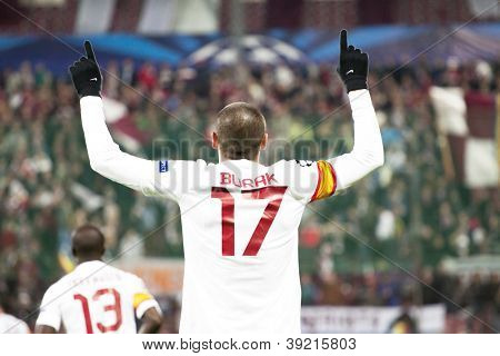 CLUJ-NAPOCA, ROMANIA - NOVEMBER 7: Burak in UEFA Champions League match between CFR 1907 Cluj vs Galatasaray, Dr. C. Radulescu Stadium on 7 Nov., 2012 in Cluj-Napoca, Romania