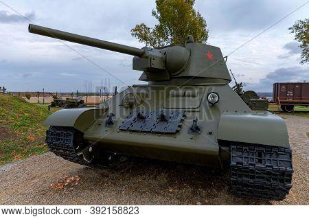 Sambek, Russia - Circa October 2020: Medium Tank T-34-76