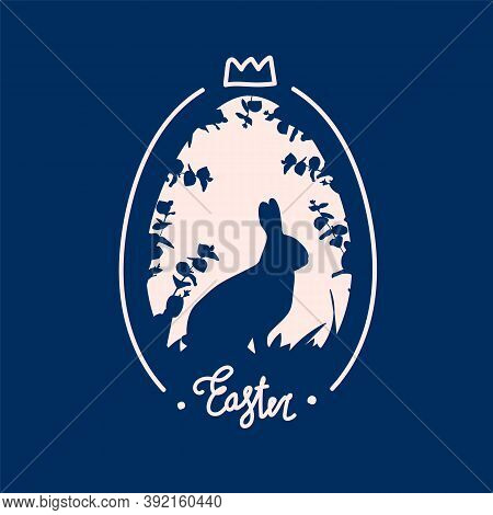 Vector Illustration Of Easter Bunnies. Postcard Made In The Style Of Flat For The Spring Holiday Of
