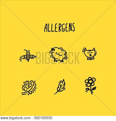 Collection Of Allergen Icons Drawn Linearly. Set Of Allergen Icons. Icons Designed To Indicate Aller