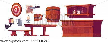 Beer Pub, Saloon, Retro Bar Interior Stuff And Furniture Wooden Bench And Desk, Barrel, Tankard, She