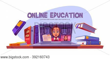 Online Education Banner With Teacher Conduct Webinar For Student Remotely, Girl Studying Via Interne